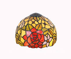 Happy Living Lighting Tiffany Style Stained Glass Lamp Shade Onlyshade 8 Inch Wide Rose
