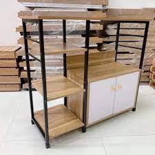 Kệ lò vi sóng đa năng có tủ gỗ 4 tầng - tối ưu diện tích- màu ngẫu nhiên -  Kệ nhà bếp Thương hiệu OEM
