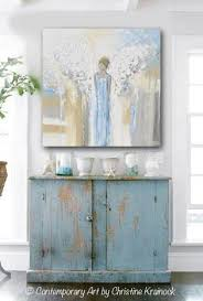 giclee print abstract angel painting guardian angel blue white