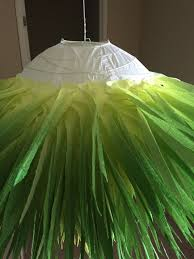 repeat this procedure until you have completely covered chandelier with your crepe paper when reach the edge at top of chandelier paper globe75