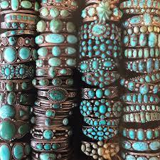 stacks of vine navajo and zuni turquoise bracelets at shiprock santa fe in santa fe new mexico
