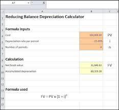 Depreciation Schedule Calculator Reducing Balance Depreciation Calculator Double Entry