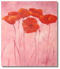 red poppies poppys pink background painting on canvas