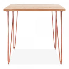 cult living hairpin square dining table solid elm wood top copper 82cm