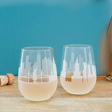 etched skyline wine glasses set of 2