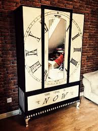 alice in wonderland inspired furniture. wardrobe clock clockswardrobes painted furniture upcycled the time is now inspiration quote alice in wonderland inspired black and white
