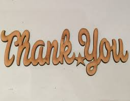 wooden thank you lettering wording topper 18cm x 7cm