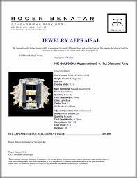 Aquamarine Clarity Chart 14k Gold 6 04ct Aquamarine 0 17ct Diamond Ring