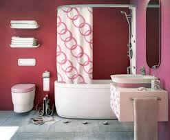 Bathroom:Cute Pink Bathroom With Sharp Pink Wall Paint Complete White  Bathtub And Sink Cute