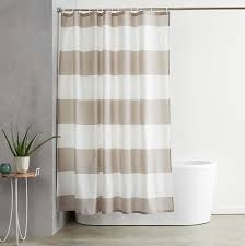 com basics shower curtain with hooks treated to resist deterioration by mildew 72 x 72 inches grey stripe home kitchen