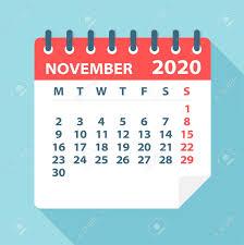 November 2020 Calendar Clip Art November 2020 Calendar Leaf Illustration Vector Graphic Page