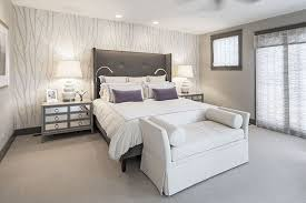 Modern Master Bedroom with Sunpan modern pandora wingback bed, Pasha cape  upholstered bench, French