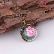 vintage women glass flower pendant clavicle chain necklace jewelry pink us 4 99 ping newfrog com