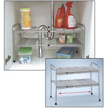 Under The Kitchen Sink Storage Amazoncom 2 Tier Expandable Adjustable Under Sink Shelf Storage