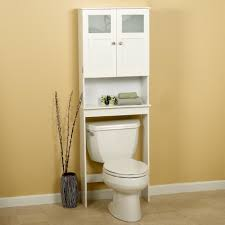 white wooden bathroom furniture. Bathroom. White Wooden Bathroom Cabinet And Shelf Over Toilet Bowl On Brown Wall Furniture S