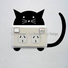 cat wall sticker for sockets image 0