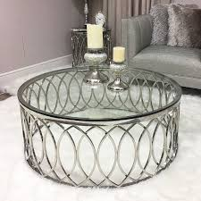 primrose chrome and glass coffee table