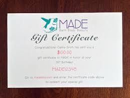Letter Gift Certificates