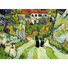 high quality vincent van gogh paintings for village street and steps in auvers with figures