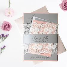 etsy lace wedding invitations. pink grey wedding invitation, formal luxury lace invitations, sweet etsy invitations e