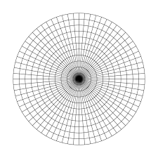 Polar Grid Of 10 Concentric Circles And 15 Degrees Steps