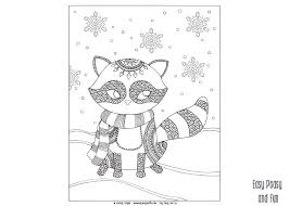 Small Picture Raccoon Winter Coloring Page for Adults and Kids Easy Peasy and Fun