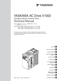 yaskawa v1000 instuction manuel yaskawa ac drive v1000 compact vector control drive technical manual manual no