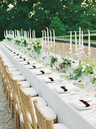 Elegant Table Centerpiece Accessories Decoration : Fancy White Wedding  Table Decoration Using Small Plant Candle Table
