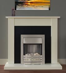 electric fire ivory silver off white fireplace surround black back panel pebbles