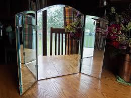 Three Way Vanity Mirror Interior Gorgeous Pattern Poseidon Frame Trifold Mirror For Home