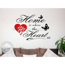 home is where the heart family wall art sticker e vinyl decor decal with red heart
