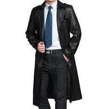 men s black trench coat with fur collar