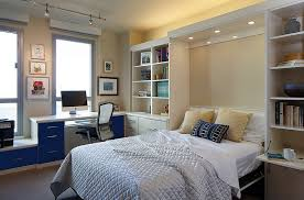 guest room office combo. guest bedroom office with cozy bed and white bookshelves plus room combo h
