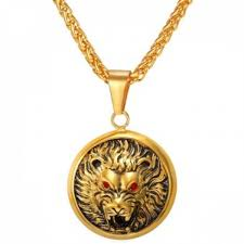 senarai harga u7 rhinestone lion head pendant necklace for men 18k real gold plated fashion jewelry accessories gold terkini di malaysia
