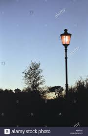Old Fashioned Light Pole Old Fashioned Lamp Post Lit At Night With Trees Stock Photo
