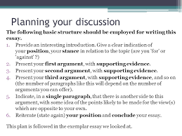 writing our own discussion lo to show my understanding of  planning your discussion the following basic structure should be employed for writing this essay