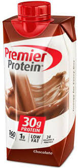 image of premier protein chocolate shake package nutritional info