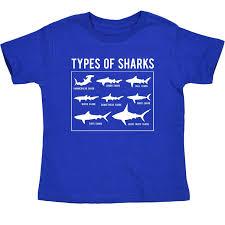 Types Of Sharks Chart Types Of Sharks Chart Hammerhead Great White Ocean Novelty Toddler T Shirt