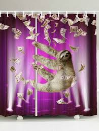 funny shower curtain. Waterproof Funny Sloth And Dollars Shower Curtain - PURPLE W59 INCH * L71 N