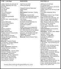 Symptom Chart Lyme Disease Babesiosis And Bartonella