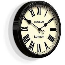 battersby black wall clock 50cm