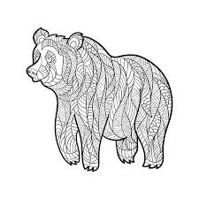 Vector Monochrome Hand Zentagle Illustration Der Pandabär Gezogen