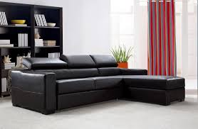 Flip Furniture Flip Reversible Espresso Leather Sectional Sofa Bed W Storage