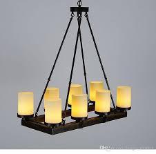 american style village retro loft iron personality creative rectangle restaurant bedroom wood candle chandelier art pendant