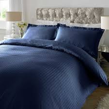 navy blue 100 cotton stripe bed sheet set