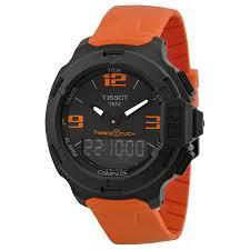 tissot t race touch black dial orange rubber mens watch zoom