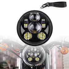 Đèn Pha Xe Máy 12V Đèn LED Lái Xe Tròn Đèn Pha 2 Chế Độ Chiếu Sáng Phù Hợp  Với 5.75 Inch Tín Hiệu Rẽ Retro