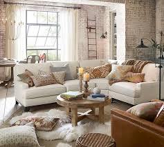 pottery barn living room. seabury upholstered 3-piece sectional with wedge pottery barn living room