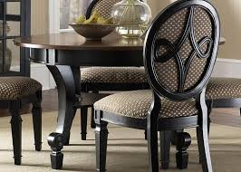 fancy black round dining room table upholstered chairs