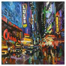 opening night broadway ny modern impressionist oil by james p kerr
